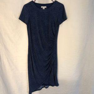 London Times 6 Dress Blue Ruched Asymmetric 1435